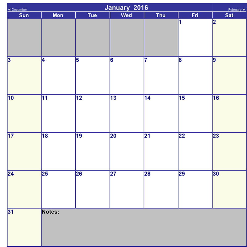 Blank Appointment Calendar Template