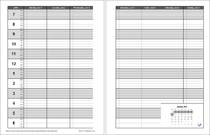 Printable Appointment Book - appointment calendar template