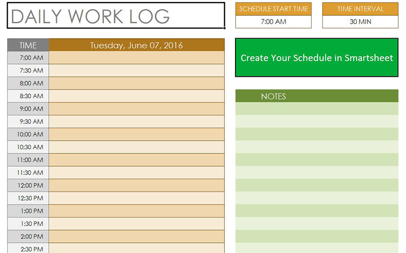 Daily Log Template - appointment calendar template