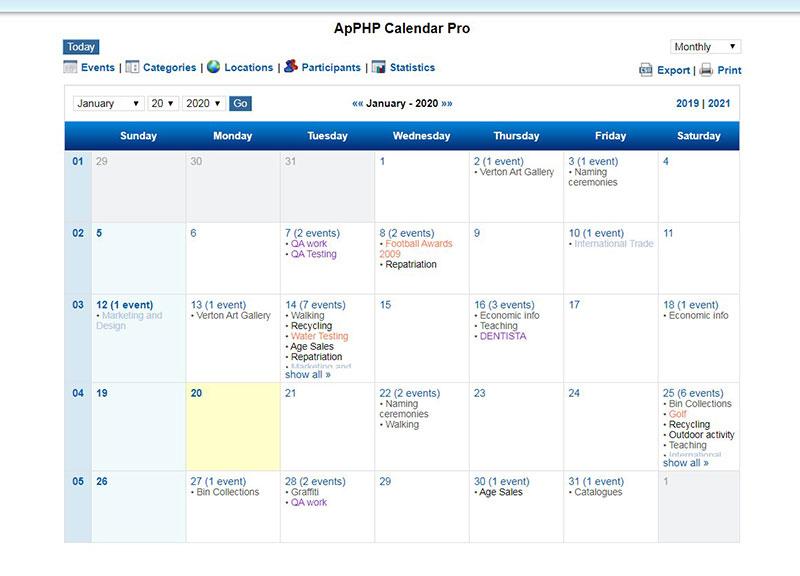 ApPHP Calendar
