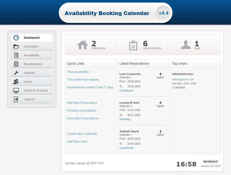 Availability Booking Calendar PHP
