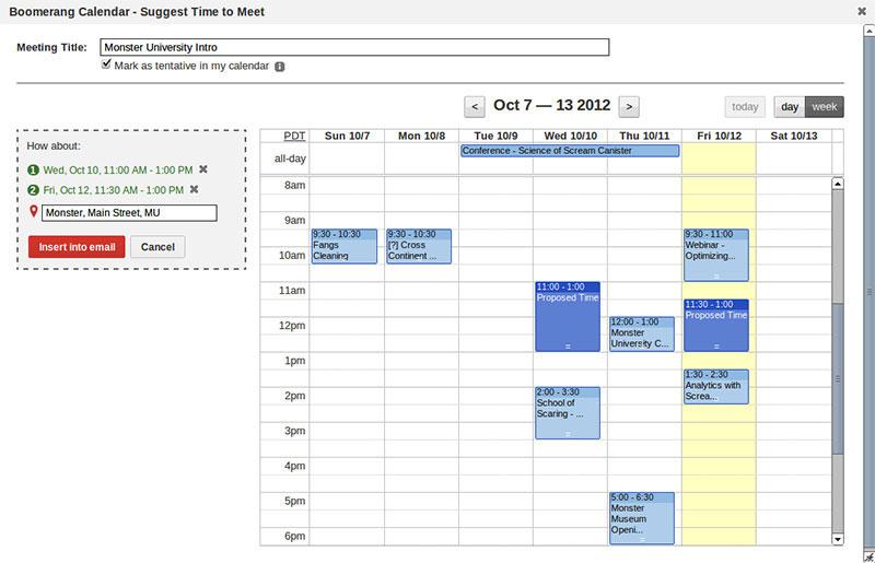 Boomerang Calendar