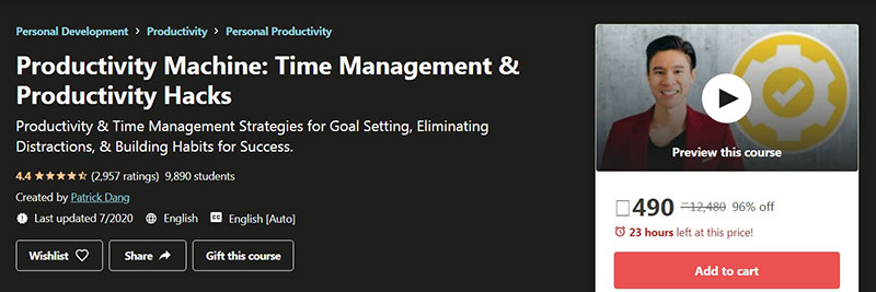 Productivity Machine: Time Management & Productivity Hacks (Udemy)