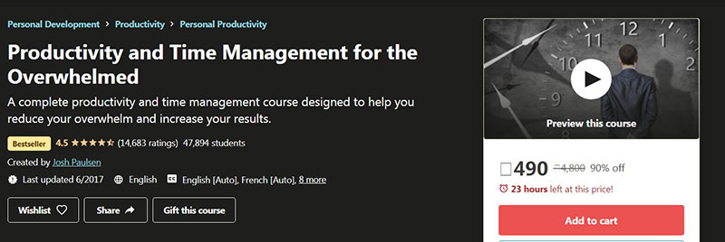 Productivity and Time Management for the Overwhelmed (Udemy)