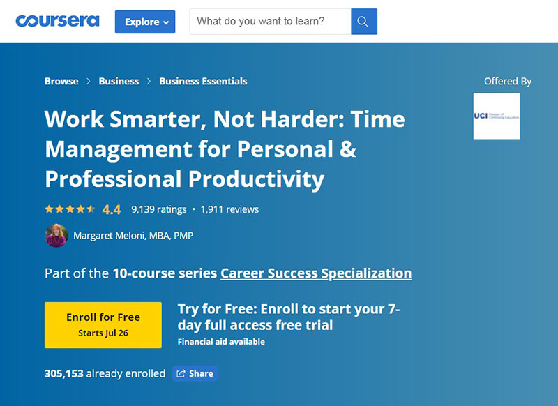 Work Smarter, Not Harder: Time Management for Personal & Professional Productivity (Coursera)
