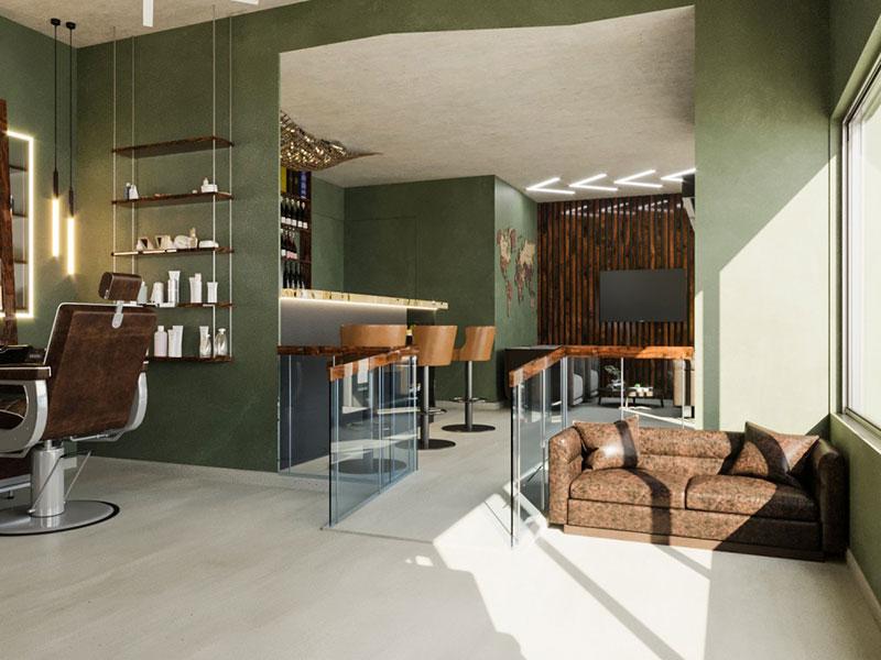 Barbershop interior design project in San Pedro (near Marbella, Spain)