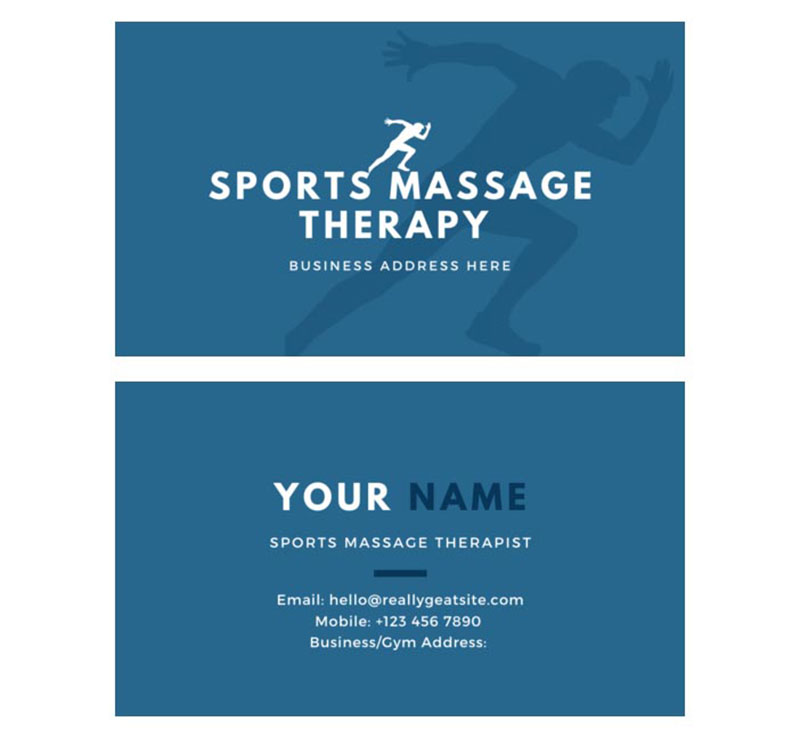 Sports Massage Business Card Front and Back