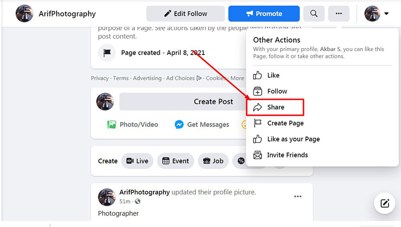 Share Your Page to Increase Interaction